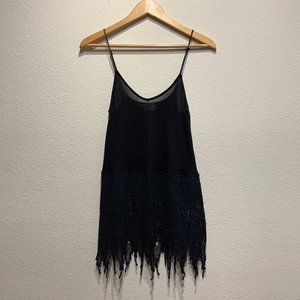 Intimately Free People Black Crochet Lace Hem Tank